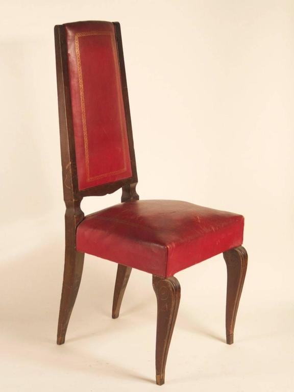 French 1940s Set of Eight High-Back Dining Chairs In Good Condition For Sale In Philadelphia, PA