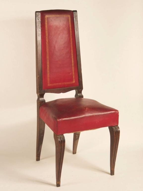 Mid-20th Century French 1940s Set of Eight High-Back Dining Chairs For Sale