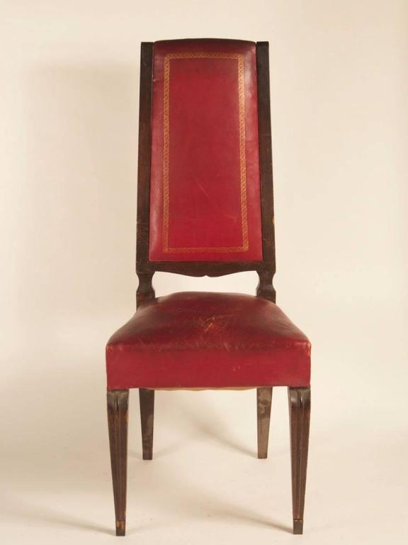 Art Deco French 1940s Set of Eight High-Back Dining Chairs For Sale