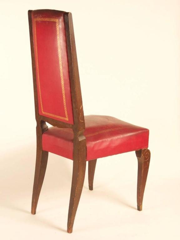French 1940s Art Deco dining chairs, set of eight in beech with bronze mounts and high, tapered backs.  Please note these chairs are unrestored in the photographs. Chairs can be custom-stained. We will be happy to discuss your wood color