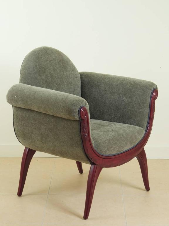 Classic French Art Deco pair of armchairs designed by Gabriel Englinger and Suzanne Guiguichon. This model was presented by La Maitrise, the design studio of the famous Paris department store, Galeries Lafayette at the 1925 Paris International