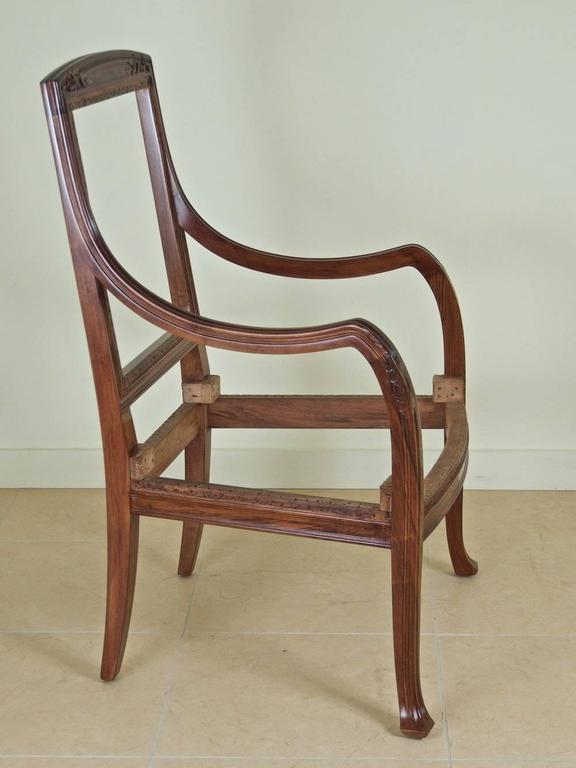 French Art Nouveau, circa 1900, pair of armchairs by Abel Landry for Maison Modern in sculpted French walnut. Frames have been restored and refinished.