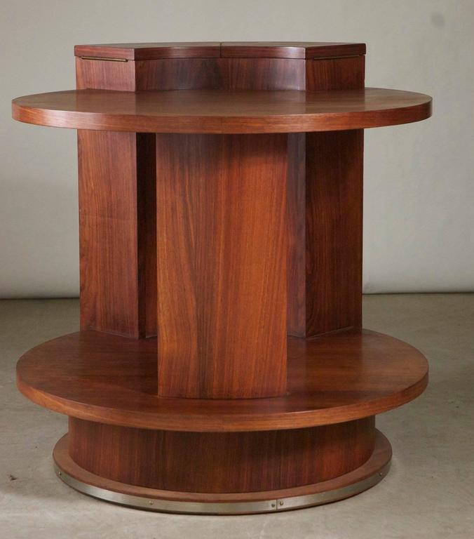 French Modernist Art Deco side table by Etienne Kohlmann in rosewood with nickled bronze mount, circa 1930. The demilune