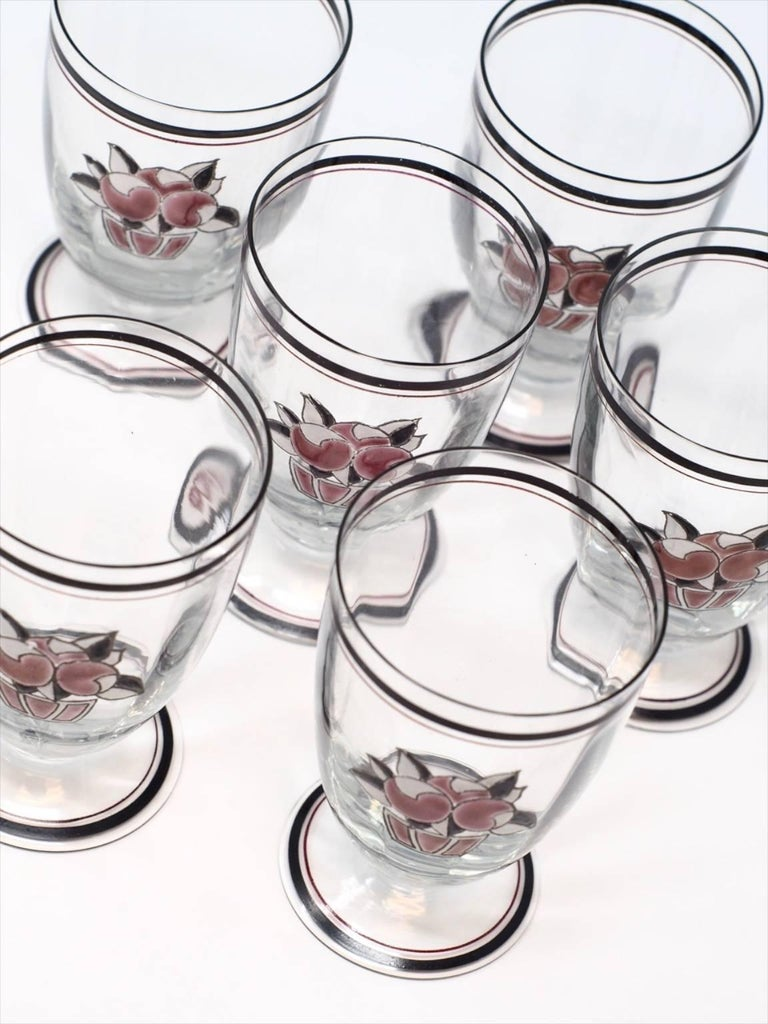 Set of Six Goupy Enameled Beverage Glasses In Excellent Condition For Sale In Philadelphia, PA