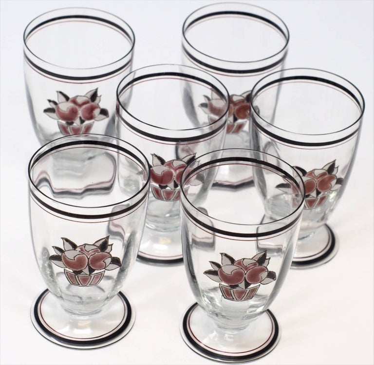 French Set of Six Goupy Enameled Beverage Glasses For Sale