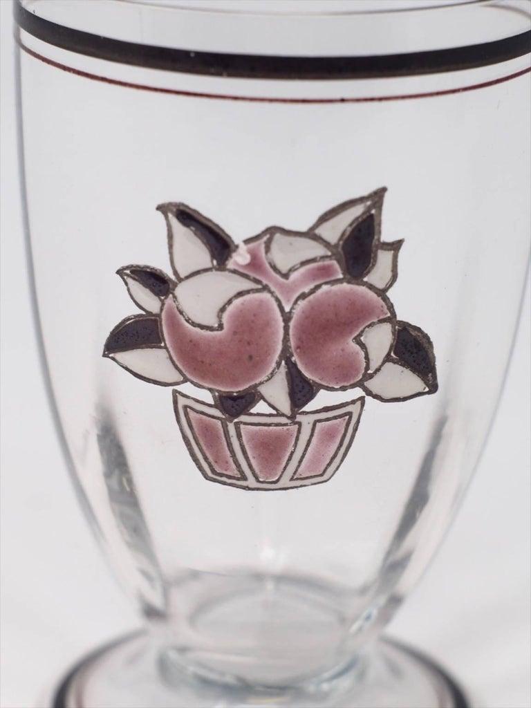 Set of six Goupy enameled beverage glasses.