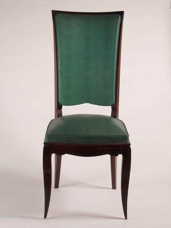 French Rene Prou Fine Set of Six Dining Chairs For Sale