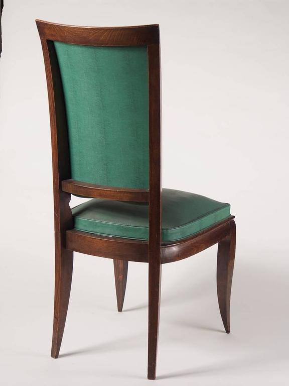 Art Deco Rene Prou Fine Set of Six Dining Chairs For Sale