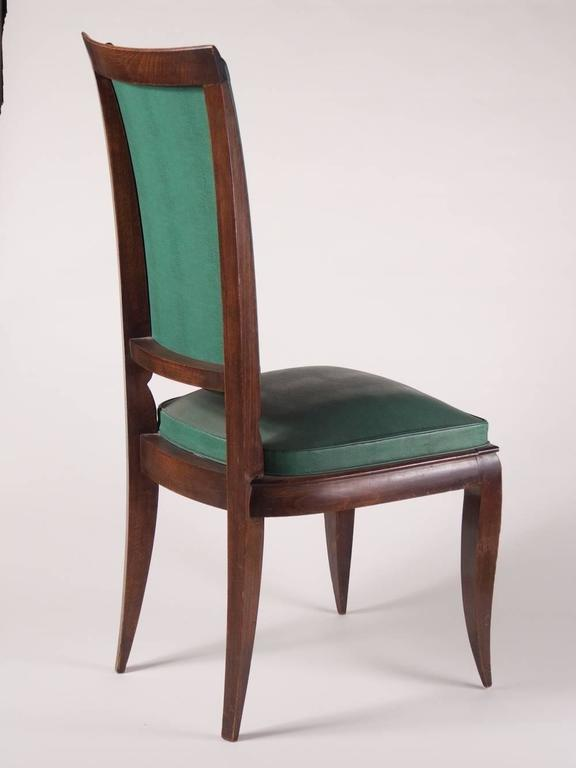 French 1940s Art Deco dining chairs, set of six by Rene Prou, in stained beech. These chairs could be ebonized.  Please note these chairs are unrestored in the photographs.  **PRICE includes proper restoration, refinishing and reupholstering