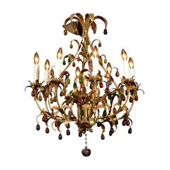 Mid-Century Eight Light Gilded Iron and Crystal Chandelier, circa 1960