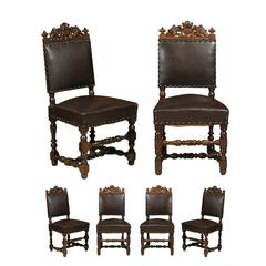 Set of Six Renaissance Style Chairs in Elm