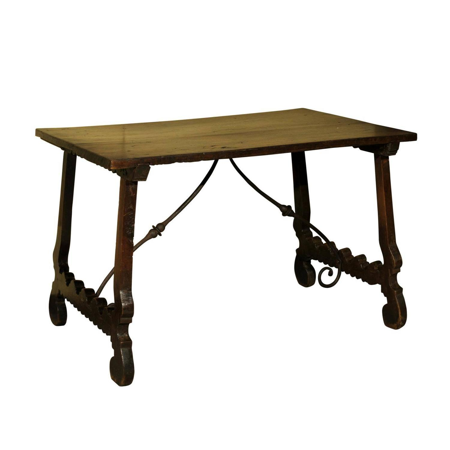18th Century Spanish Table in Dark Brown Oak with Iron Stretcher