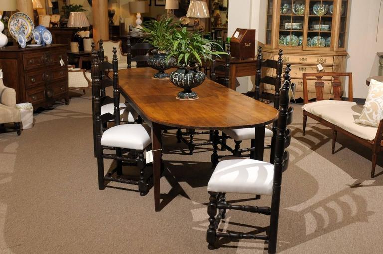 Th Century Long Pine And Oak Oval Farm Table Circa For Sale - Oval farm table