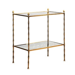 Midcentury Baguès style Bronze and Mirrored Side Table