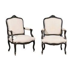 Pair of 19th Century Black Louis XVth Style Armchairs, circa 1880