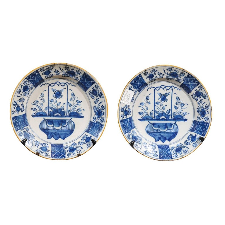 Pair of 17th Century Blue Delft Chargers, circa 1690
