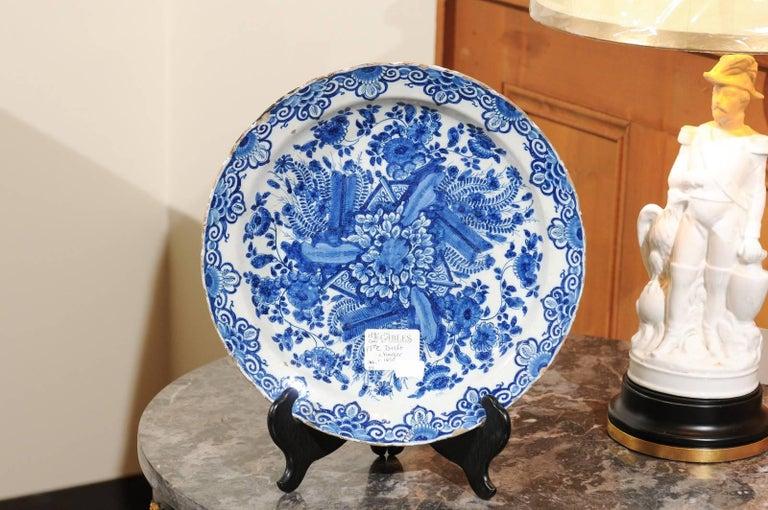 Dutch 17th Century Blue Delft Charger, circa 1690 For Sale