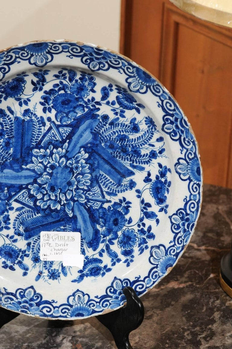 17th Century Blue Delft Charger, circa 1690 For Sale 1