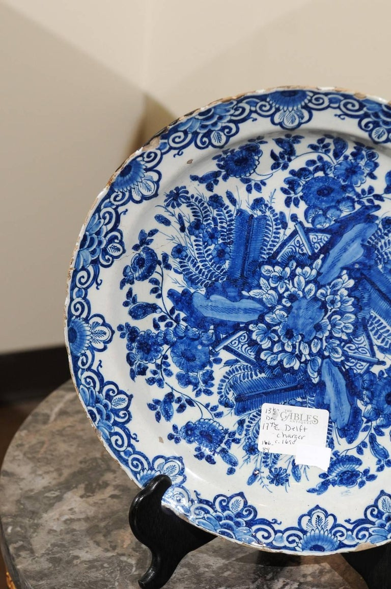 18th Century and Earlier 17th Century Blue Delft Charger, circa 1690 For Sale