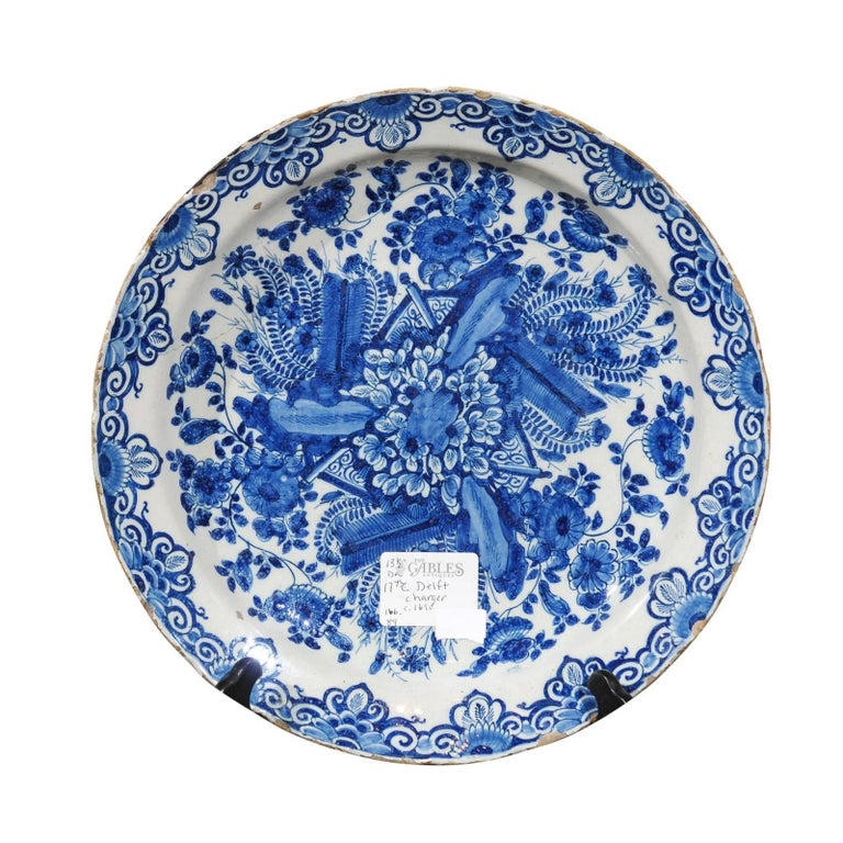 17th Century Blue Delft Charger, circa 1690 For Sale
