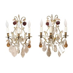 Pair of Vintage French Bronze and Crystal Sconces, circa 1950