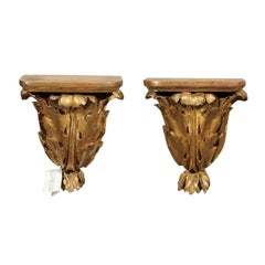 Pair of 19th Century Carved Wood Gilded Brackets, circa 1890