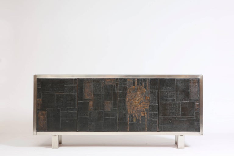 Pia Manu ceramic four-panels sideboard, circa 1970.