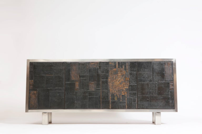 Pia Manu Ceramic Four-Panels Sideboard In Good Condition For Sale In New York, NY