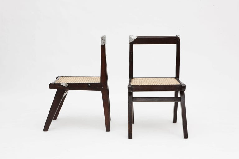 pierre jeanneret set of eight demountable teak chairs for sale at