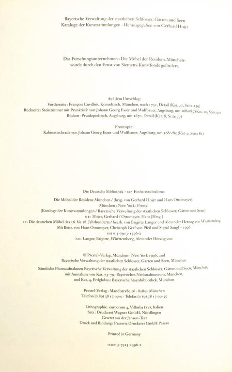 Die Möbel Der Residenz München, First Edition For Sale 4