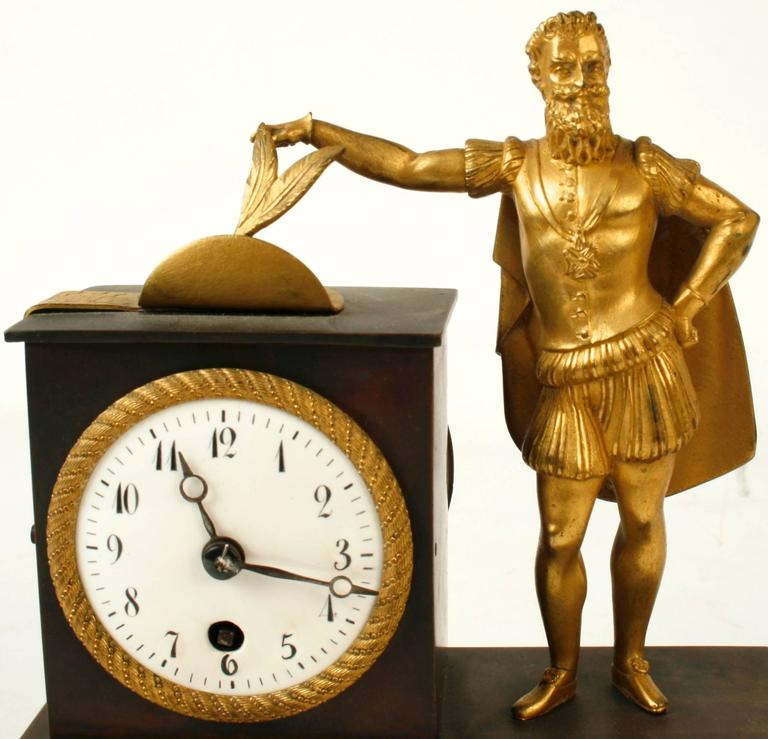 French Empire Bronze Ormolu-Mounted Figural Clock, Early 19th c In Good Condition For Sale In valatie, NY