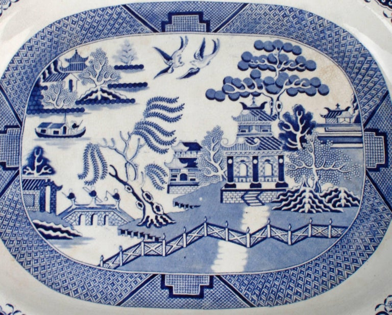 Enormous Staffordshire Earthenware Blue Willow Platter