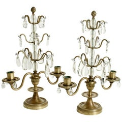 Pair of French Brass and Rock Crystal Candelabra, circa 1880