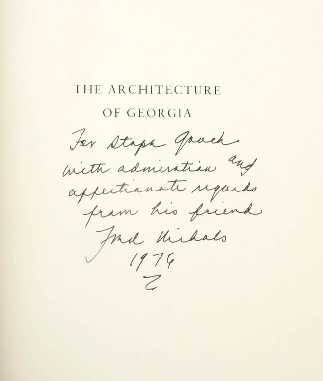 """The Architecture of Georgia by Frederick Nichols signed 1st Edition. The Beehive Press, Savannah, 1976, hardcover. """"This is the first complete survey of Georgia architecture between the Revolution and the Civil War and probably the most"""