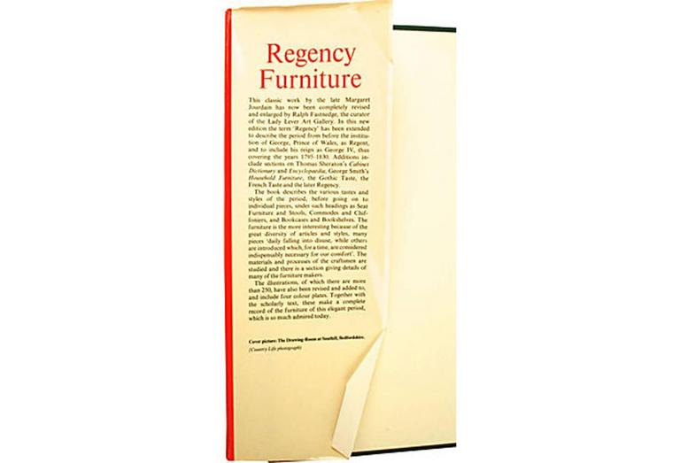 Regency furniture 1795-1820 by Margaret Jourdain. London: Country Life, 1965. First edition, thus, new format and updates by R. Fastnedge. 116 pp. Includes: Greek Revival; Thomas Hope; Thomas Sheraton's; Egyptian Revival; Chinese, Greek, French and