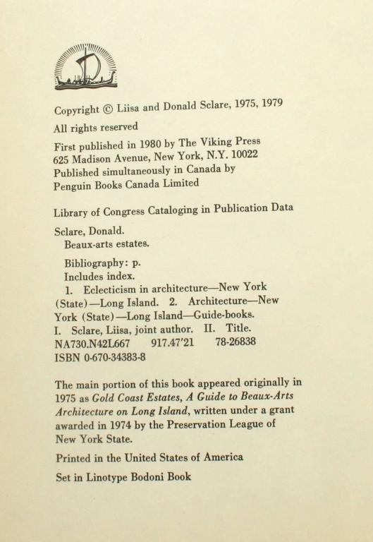 Beaux-Arts Estates, A Guide to the Architecture of Long Island, First Edition For Sale 4