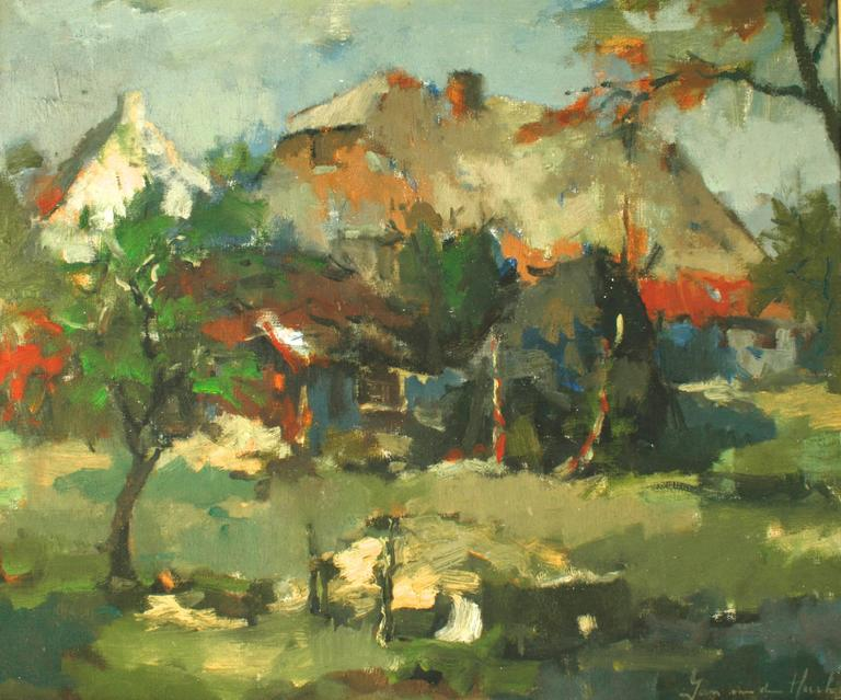 Dutch Landscape Painting by Jan Van Den Hurk, Mid-20th c In Good Condition For Sale In valatie, NY
