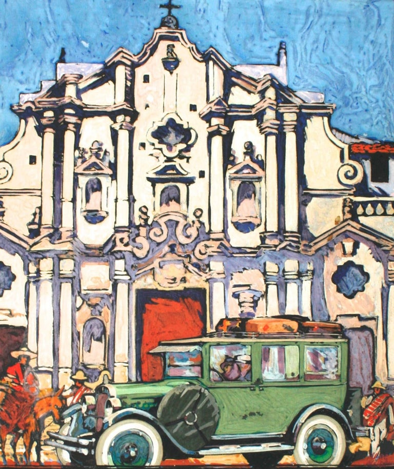 This handsome gouache painting is of the Baroque Cathedral of the Virgin Mary of the Immaculate Conception in Havana Cuba. In front of the cathedral are Cuban figures and a 1928 Ford Model A sedan with luggage. It is framed with a beautifully worn
