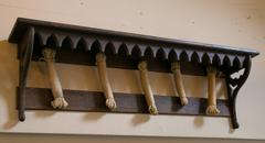 Antique Gothic Wooden Wall Shelf with Hooks
