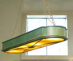 Vintage Tole and Art Glass Oblong Light