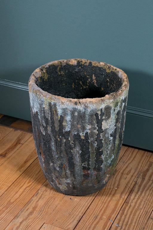 Oversized, heavy black foundry crucible. Would make a wonderful planter or simply as a decorative piece. Interesting texture, color and patina.
