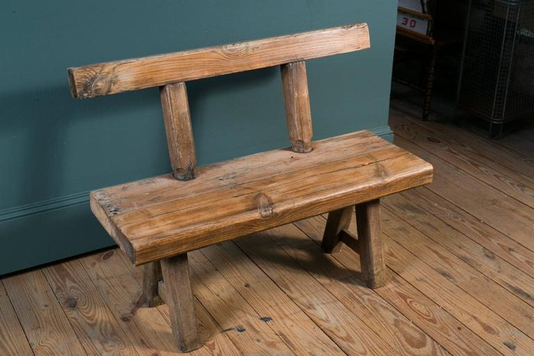 Rustic And Primitive Oak Bench With Back From Belgium