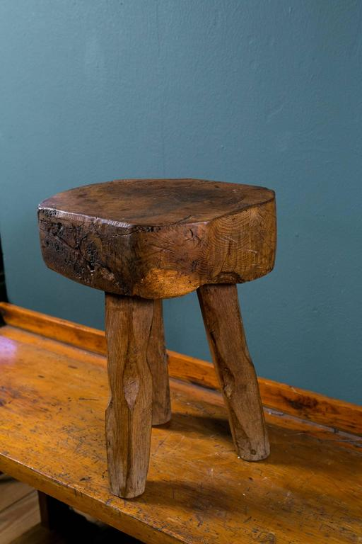 Primitive And Rustic Hand Carved Wooden Stool Or Side