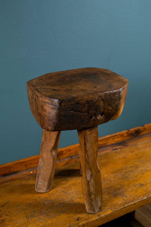 Primitive And Rustic Hand Carved Wooden Stool Or Side Table With Three Legs At 1stdibs