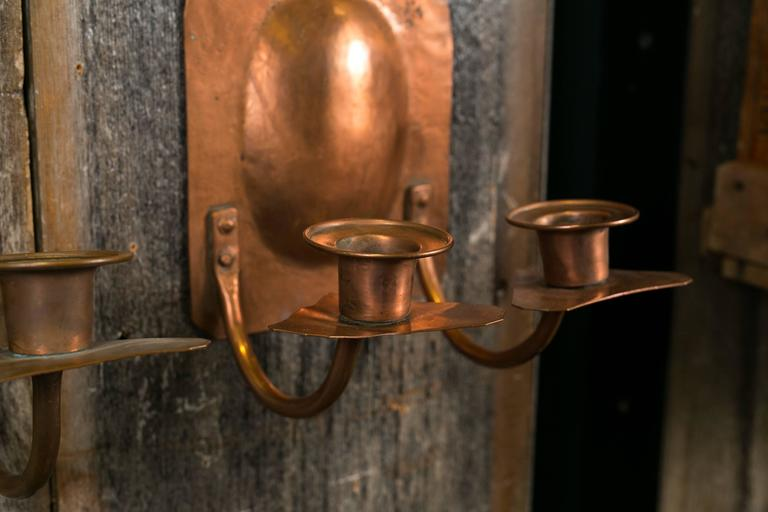 Pair of american hand hammered copper arts and crafts for Arts and crafts candle sconces