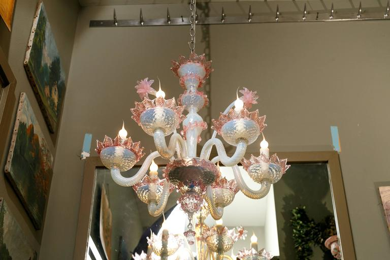 Other Pink and White Murano Blown Glass Chandelier with Flowers, circa 1940 For Sale