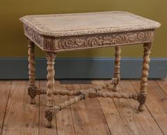 Neo-Renaissance Style Bleached Oak Barley Twist Table from Spain, circa 1900