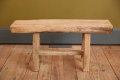 Primitive, Handmade, Rustic Curved Oak Wood Bench from Belgium, circa 1920