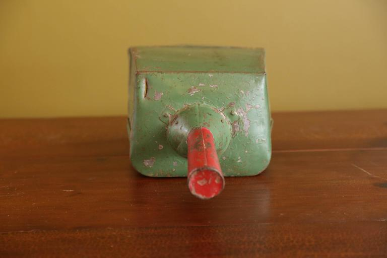 Industrial Painted Green Metal Scoops with Red Handles from Belgium, circa 1950 3