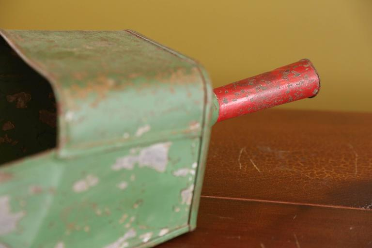 Industrial Painted Green Metal Scoops with Red Handles from Belgium, circa 1950 2